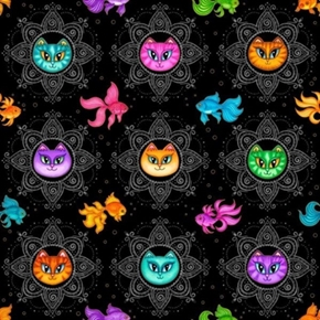 Picture of A Tail of Two Kitties Cat Medallions Fish Black Cotton Fabric