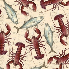 Seaside Lobsters And Fish Toss Beige Cotton Fabric