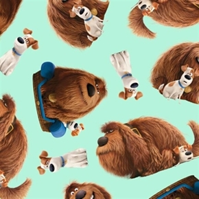 Picture of The Secret Life of Pets Movie Max and Duke Toss Aqua Cotton Fabric