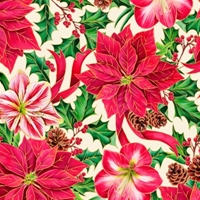 Picture of Joy To The World Poinsettia Amaryllis Metallic Gold Cotton Fabric