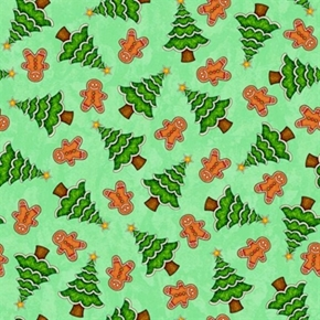 Santa Coming To Town Christmas Gingerbread Cookie Green Cotton Fabric