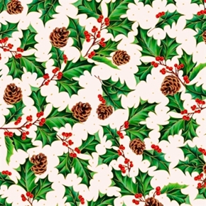 Joy To The World Christmas Holly Pinecone Metallic Gold Cotton Fabric