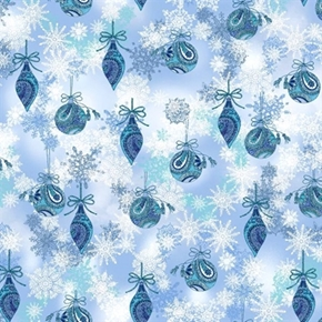 Picture of Winter Frost Large Ornaments and Snowflakes Cotton Fabric