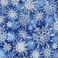 Picture of Winter Frost Snow Blue and White Snowflakes Blue Cotton Fabric