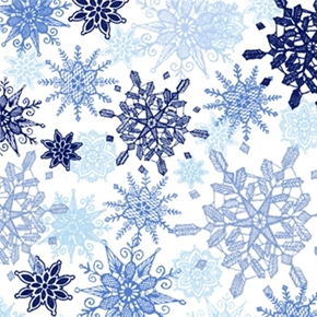 Winter Frost Snow Blue And White Snowflakes White Cotton Fabric