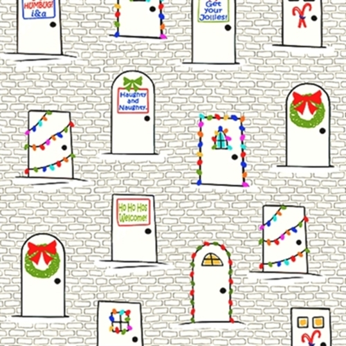 Naughty Or Nice Christmas Doors Holiday Decorations Cotton Fabric