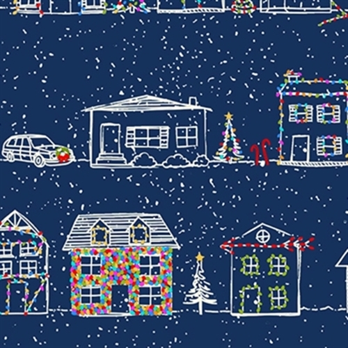Naughty Or Nice Christmas Houses Decorated Lights Blue Cotton Fabric