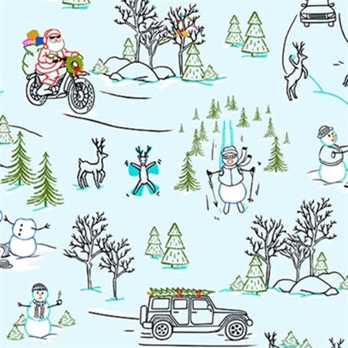 Naughty Or Nice Silly Christmas Scenic Blue Cotton Fabric