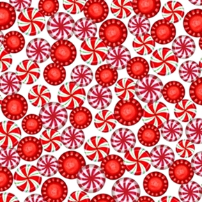 Picture of Sweet Season Peppermints Packed Peppermint Candy Cotton Fabric