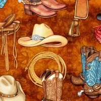 Picture of Unbridled Western Motifs Cowboy Boots Hats and Saddles Cotton Fabric