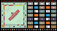 Picture of Game Night Monopoly Game Board Game Parts 24x44 Cotton Fabric Panel