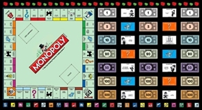 Game Night Monopoly Game Board Game Parts 24X44 Cotton Fabric Panel