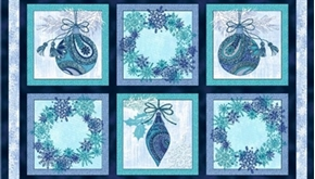 Winter Frost Ornament Wreath Block 24X44 Large Cotton Fabric Panel