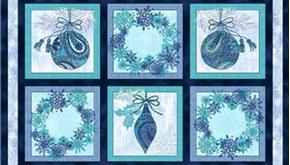 Winter Frost Ornament Wreath Block 24X44 Large Cotton Fabric Panel