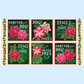 Joy To The World Poinsettia Blocks 24X44 Large Cotton Fabric Panel