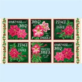 Joy To The World Poinsettia Blocks 24X44 Large Cotton Fabric Panel