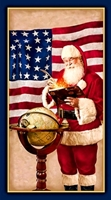 Picture of Peace on Earth Patriotic Santa 24x44 Large Cotton Fabric Panel