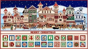 Santa Coming To Town Christmas Advent Calendar 24X44 Fabric Panel