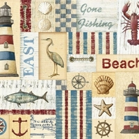 Picture of Seaside Nautical Beach Patch Worn-look Cotton Fabric