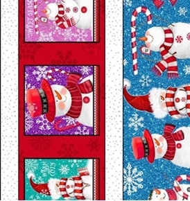 Picture of Sweet Season Snowman Snowflake Winter Stripe Cotton Fabric