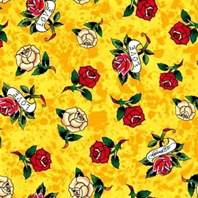 Picture of Love Is True Ed Hardy Tossed Tattoo Roses Mottled Lemon Cotton Fabric