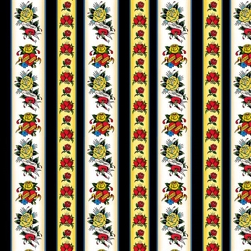 Love Is True Ed Hardy Hearts and Roses Tattoo Stripe Cotton Fabric