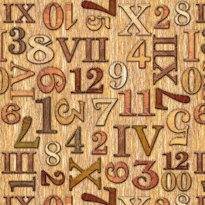 Timeless Numbers and Roman Numerals Clock Parts Tan Cotton Fabric