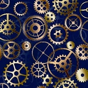 Picture of Timeless Clock Gears Wheels on Navy Cotton Fabric