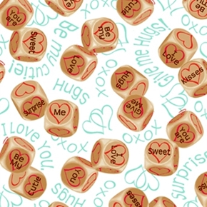 Love's All Around Valentine Love Heart Dice White Cotton Fabric