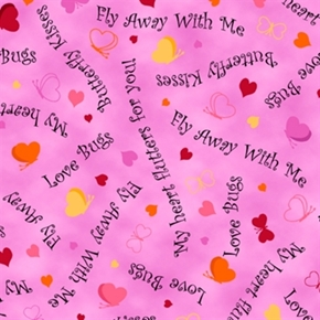 Picture of Love Bugs Hearts and Words Butterfly Kisses Bubblegum Cotton Fabric