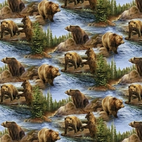 Wild Wings Scenics Not To Be Trifled With Grizzly Bear Cotton Fabric