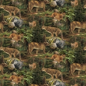 Picture of Wild Wings Scenics Forest Prowler Mountain Lion Cougar Cotton Fabric