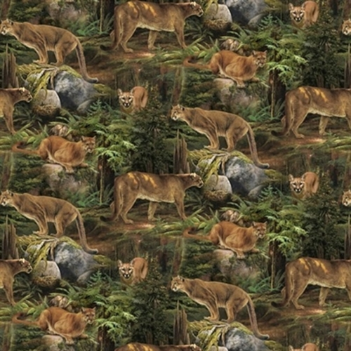 Wild Wings Scenics Forest Prowler Mountain Lion Cougar Cotton Fabric
