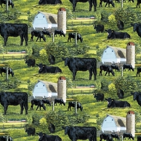 Wild Wings Scenics Black Angus Cattle Steer On The Farm Cotton Fabric