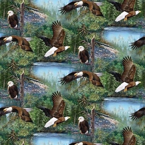 Wild Wings Scenics Winged Warriors Bald Eagles Eagle Cotton Fabric
