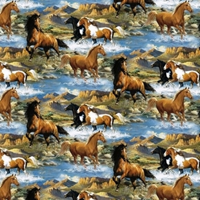 Wild Wings Rhapsody West Wild Horses Horse River Scenic Cotton Fabric