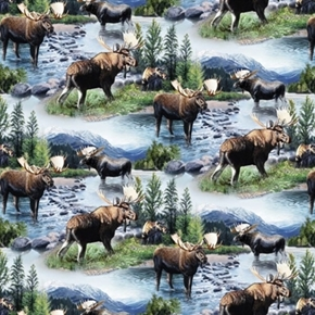 Wild Wings Scenics Lake Massepequa Moose In The Wild Cotton Fabric
