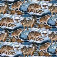 Picture of Wild Wings Narragansett Creek Wolves Snowy Creek Scenic Cotton Fabric
