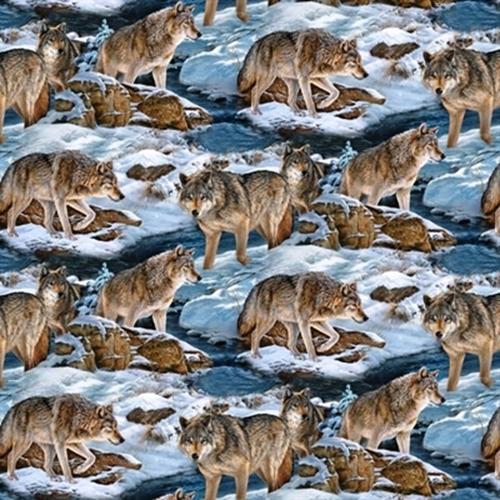 Wild Wings Narragansett Creek Wolves Snowy Creek Scenic Cotton Fabric