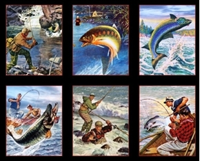 Sports Afield Fishing Fish Blocks 24X44 Large Cotton Fabric Panel