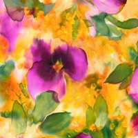 Picture of Floral Fantasy Watercolor Floral Purple Pansy on Yellow Cotton Fabric