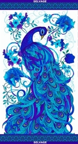 Picture of Plume Collection Peacock 24x44 Large Cotton Fabric Panel