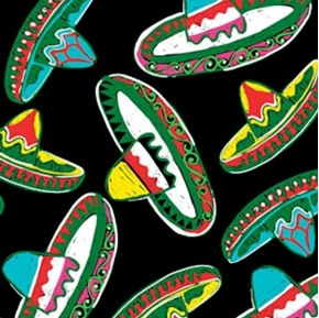 Picture of Cinco de Mayo Festival Mexican Sombrero Hats Black Cotton Fabric
