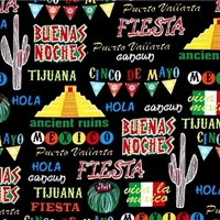 Picture of Cinco de Mayo Viva La Mexico Mexican Icons Fiesta Black Cotton Fabric