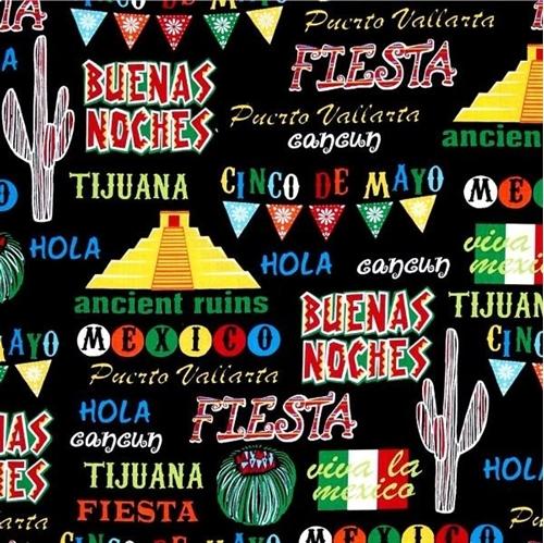 Cinco de Mayo Viva La Mexico Mexican Icons Fiesta Black Cotton Fabric