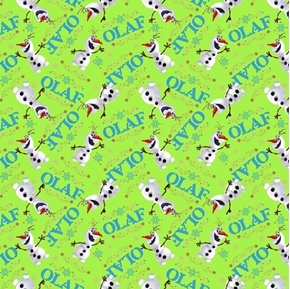 Picture of Disney Frozen Olaf Toss on Green Cotton Fabric