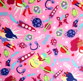 Picture of Kid Super Girl Outer Space Planets Rockets Glitter Pink Cotton Fabric