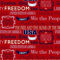 Picture of World Piece Americana Mary Fons Patriotic Freedom Words Cotton Fabric