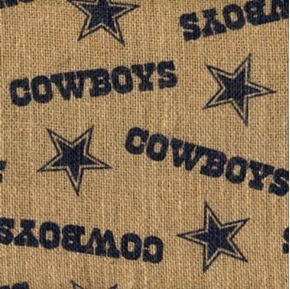 Picture of NFL Football Dallas Cowboys Burlap Jute Fabric by the Yard