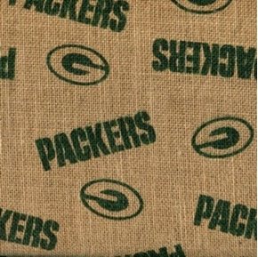 NFL Football Green Bay Packers Burlap Jute Fabric by the Yard